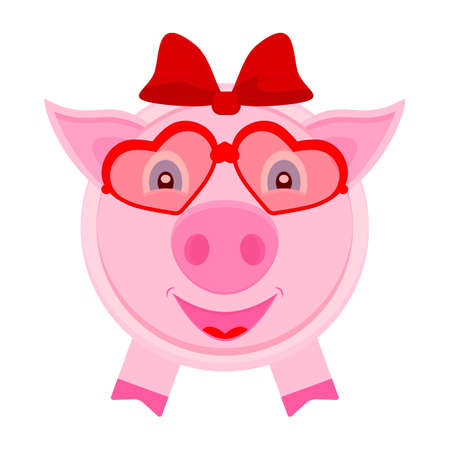 Piggy girl with hair bow on the head and in glasses from hearts. Vector illustration in flat style.