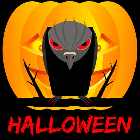Halloween with raven and pumpkin on black background. Spooky and scary vector illustration. Ilustração