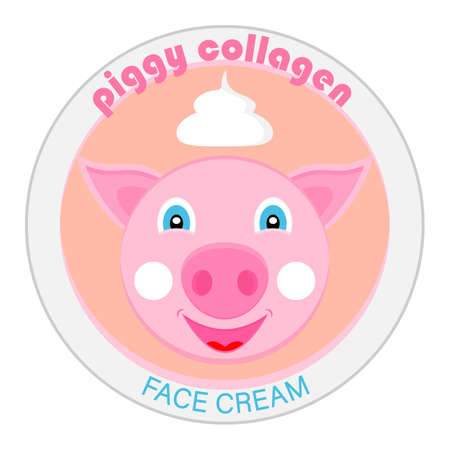 Piggy collagen. Template design for label cosmetic cream or mask for face. Vector illustration.