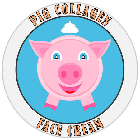 Pig collagen. Template design for label cosmetic cream or mask for face. Vector illustration.  イラスト・ベクター素材