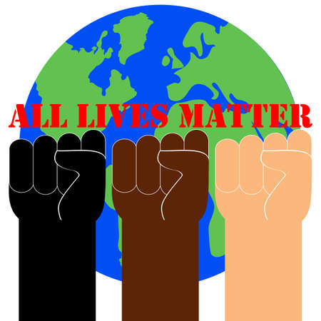 All lives matter. Quote, text, slogan. Poster, banner, flyer with raised up arms and fists. Vector Illustration.
