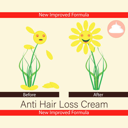 Anti hair loss cream. Balm, ointment for growth hair. Treatment of baldness and alopecia. Before and after. Label template. Hairless and hairy flower. Vector illustration.