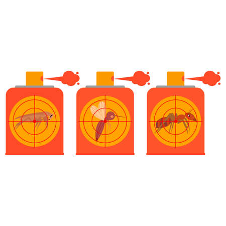 Repellent spray insect. Set of icons. Protection from the mosquito, midge, gnat, cockroach, ant. Aerosol for bug bite prevention. Vector illustration.