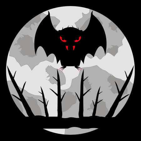 Vampire bat with bloody eyes, fangs and claws on a pale moon background. Flies in the sky over a branch. Cartoon character. Black silhouette. Vector illustration for halloween and other ideas.