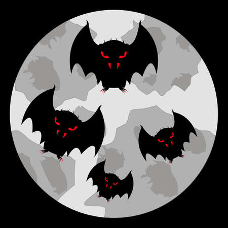 A flock of vampire bats with bloody eyes, fangs and claws fly in the sky against the backdrop of a pale moon. Cartoon character. Black silhouette. Vector illustration for halloween and other ideas. Illustration