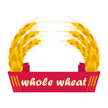 Wheat ears logo. Ribbon with the inscription whole wheat. Round shapes, golden and yellow colors. Emblem, icon. Isolated vector illustration.