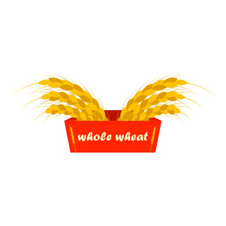 Wheat ears logo. Ribbon with the inscription whole wheat. Golden and yellow colors. Emblem, icon. Isolated vector illustration.