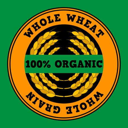 Wheat ears logo. Round shapes, golden, black, green and yellow colors. Inscription whole wheat and 100% organic. Emblem, icon. Isolated vector illustration.