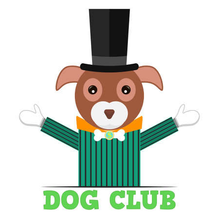 Dog club logo. Lettering, banner, poster. Dog gentleman in a suit, hat and bow tie with a dollar sign and bone. Vector isolated illustration.