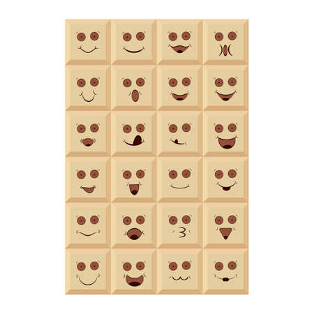 Chocolate emoticons, smiley and emoji. Set of cheerful and smiling tiles of white chocolate with emotions, faces, mouth, eyes. Vector illustration. Ilustração