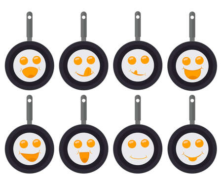 A set of fried eggs in pans with eyes and a smiles. Emoji and emoticons. Vector illustration. Ilustração