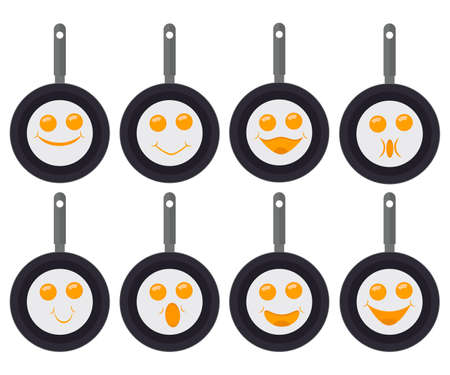 Fried eggs emoticons, smiley and emoji. A set of fried eggs in pans with eyes and a smiles. Vector illustration. Ilustração