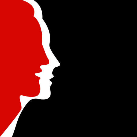 Silhouettes of faces of man and woman together on black background. Red and white colors. Vector illustration.