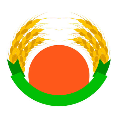 Wheat ears logo with sun and ribbon. Round shapes. Green, orange, golden, yellow colors. Emblem, icon. Isolated vector illustration. 向量圖像