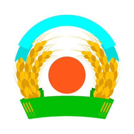 Wheat ears logo with sun and ribbons. Round shapes. Green, orange, golden, yellow colors. Emblem, icon. Isolated vector illustration. 向量圖像
