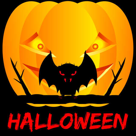 Halloween lettering. A vampire bat sits on a tree branch. Pumpkin and black background. Vector illustration.