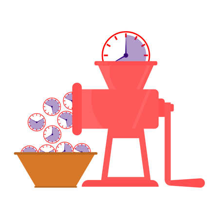 Big clock fall into a mincer and grind in many small clocks. Time saving concept. Vector illustration.