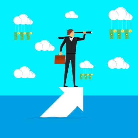 A businessman stands on the arrow and looks through the spyglass. Business concept, achievement, character, leader. Vector illustration.