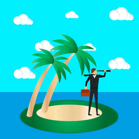 Business risk and survival concept. A businessman on a tropical island looks through a spyglass. Vector illustration.