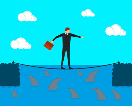 Businessman tightrope walker keeps balance on the tightrope. Sharks swim under it. Vector illustration.