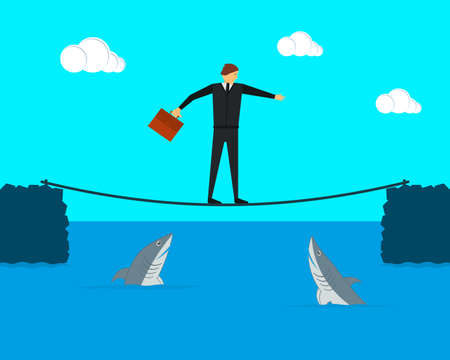 Businessman tightrope walker keeps balance on the tightrope. Sharks swim under it. Vector illustration. Ilustrace