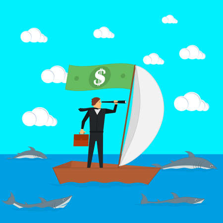 The concept of risks in business and management. A businessman on a sailing boat looks through a spyglass. The manager is surrounded by sharks. Vector illustration.
