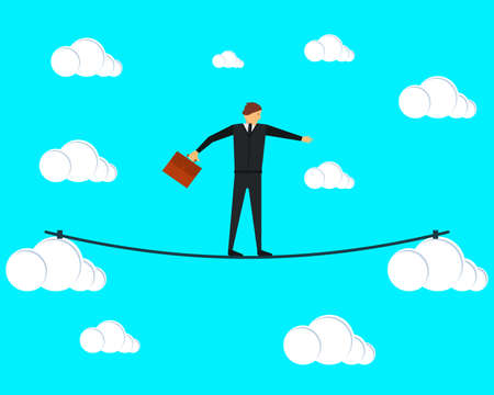 Businessman tightrope walker walking on a tightrope between the clouds. Vector illustration. The concept of risks in business and management. Ilustrace