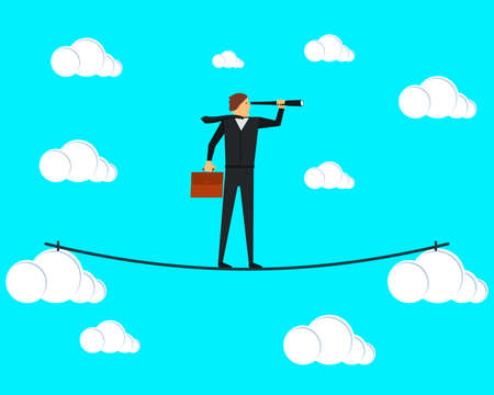 A businessman tightrope walker walks on a tightrope between the clouds and looks through a spyglass. Vector illustration. Ilustrace