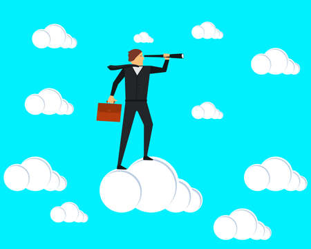 A businessman stands on a cloud and looks through a spyglass. Vector illustration. Ilustrace