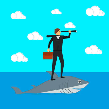 A businessman stands on a shark and looks through a spyglass. Vector illustration.