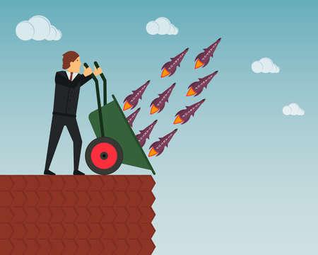 A businessman launches a lot of rockets with the inscription Startup. Vector illustration. Ilustração