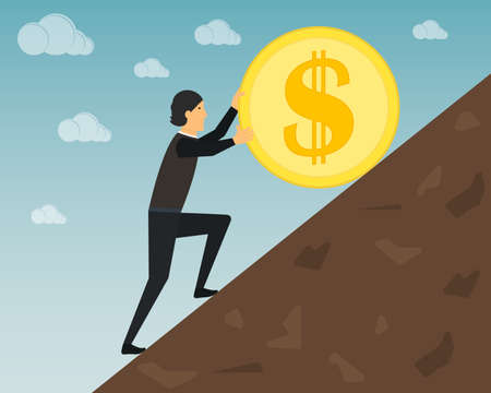 A businessman in the guise of Sisyphus is pushing a gold coin up the hill. Dollar sign. Success, goal, perseverance, leadership, financial and other business concepts. Vector illustration.