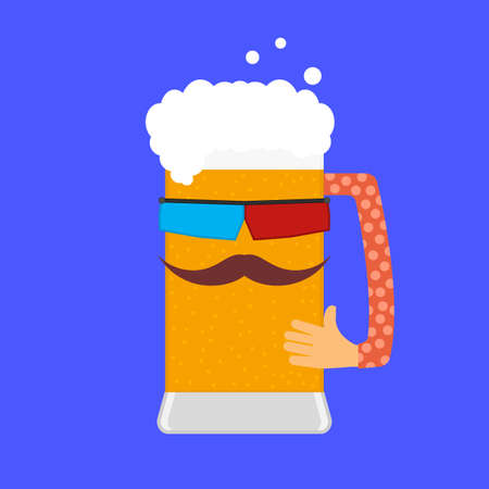 Beer and cinema. Beer mug with a man's face and stereo glasses. Beer character with funny face, mustache and hand. Isolated vector illustration, icon.