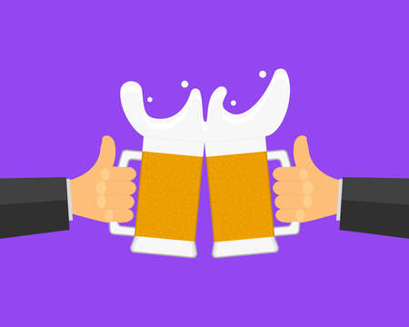 Two hands are holding beer glasses and clink glasses. Friendly toast, a lot of beer foam is pouring out of the glasses, the concept of a holiday, party. Isolated vector illustration.
