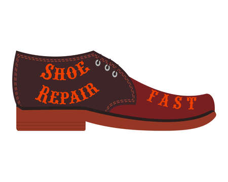"""shoe repair shop, workshop shoemaker. Design element for signboard, banner, flyer, poster and other use. Cowboy boot with inscription """"Shoe repair fast"""". Isolated vector illustration, icon."""