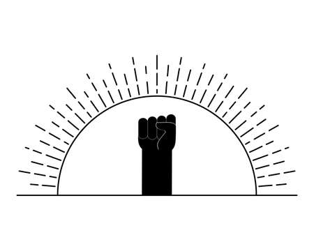 Raised arm fist and sun. A symbol of protest, demonstration, fight and revolution. Black arm silhouette on sun background. Isolated vector illustration.