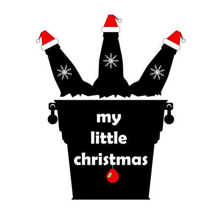 """Christmas beer bottles in santa claus hats in a metal bucket with ice cubes and snowflakes. The inscription """"my little christmas"""". Isolated vector new year illustration, icon on white background."""