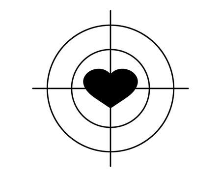 Heart in the center of the aim, target. Black silhouette. Isolated illustration, icon on a white background.