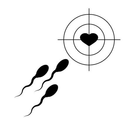 Male sperm, female heart and target, aim. Fertilization concept. Isolated vector illustration, icon on white background. Ilustração