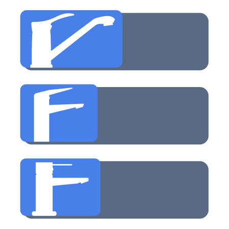 Set of vector icons, water faucets for the kitchen and bathroom. Design element for signboard, nameplate and other use with space for text or inscription. White silhouettes, blue background. 向量圖像