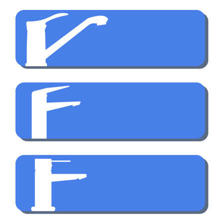 Set of vector icons,   water faucets for the kitchen and bathroom. Design element for signboard, nameplate and other use with space for text or inscription. White silhouettes, blue background.