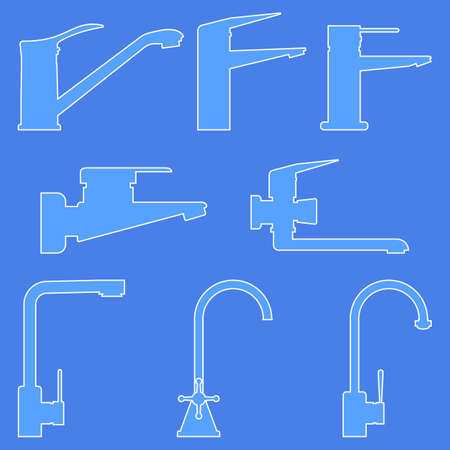 A set of water taps for the kitchen and bathroom. Line drawing. Isolated outline vector illustrations, icons, logos on a blue background.