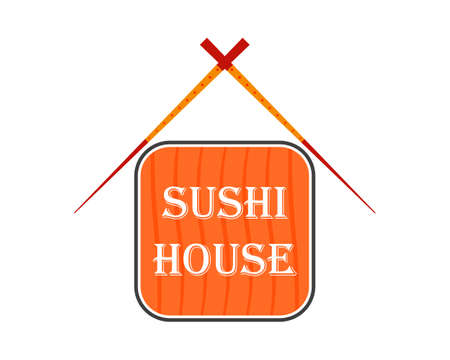 Sushi house . Vector illustration with chopsticks and sushi roll.