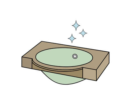 Shiny sparkling wash basin icon for bathroom. Outline isolated vector illustration on white background.