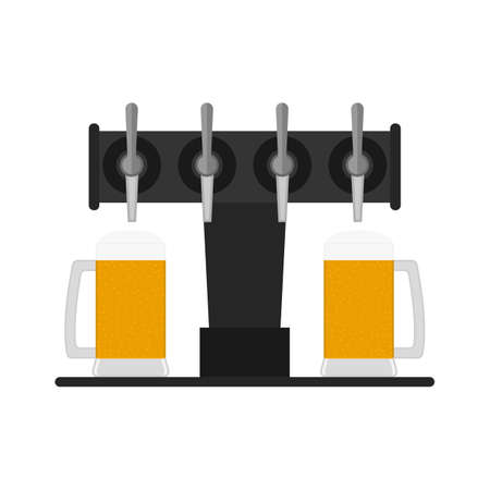 Beer pump, dispenser with taps and full glass beer mugs. Vector clipart. Illustration оn blank background.