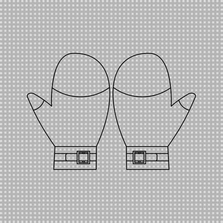 Mitten outline cartoon clipart on transparent background. Vector image.