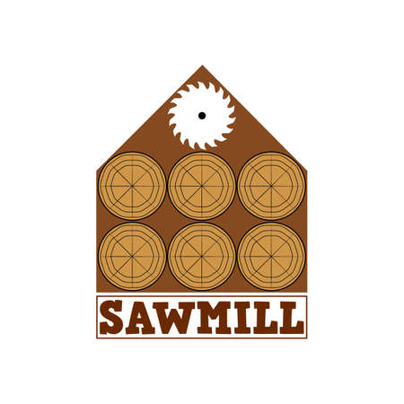 Sawmill emblem logo. Vector for carpentry, woodwork, lumberjack, woodcraft, sawmill service. Isolated clipart on white background.