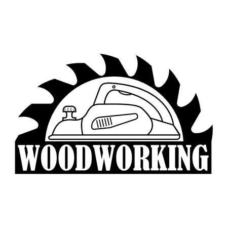 Woodworking logo. Vector for carpentry, woodwork, lumberjack, woodcraft, sawmill service. Isolated clipart on white background.