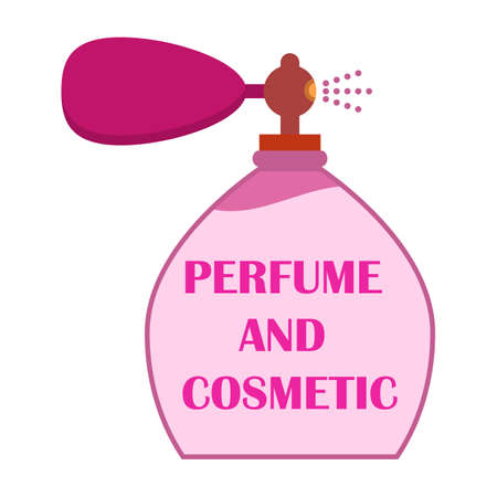 Big retro perfume bottle with fragrance, spray and smell with space for text or inscription. Vector illustration. Clipart and drawing on white background.
