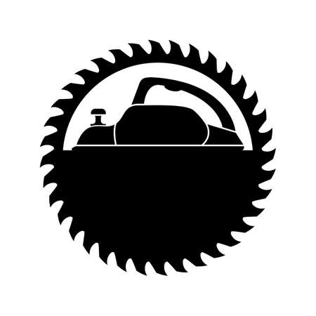 Woodworking and sawmill. Electric planer with circular saw blade for wood. Black silhouette. Isolated vector clipart. Drawing on white background.